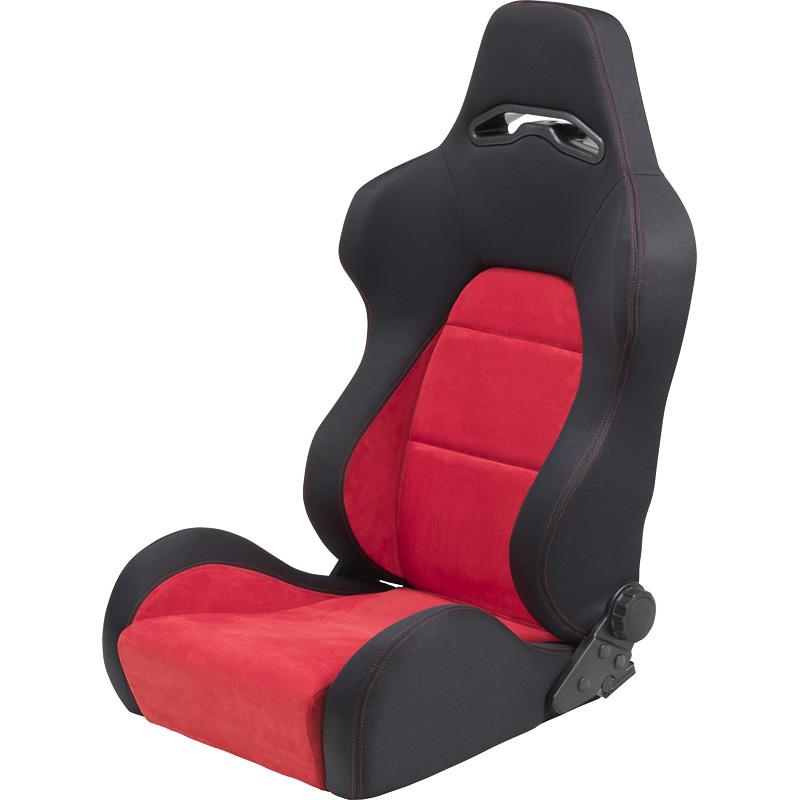 Mijnautoonderdelen Sportseat Eco Soft Black/Red Chamoi SS 40R